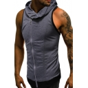 Summer Mens New Trendy Solid Color Sleeveless Hooded Zipper Front T-Shirt