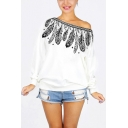 Fashion Oblique Shoulder One Shoulder Feather Printed White Loose Fit Sweatshirt