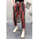 Guys Summer New Trendy Striped Printed Drawstring Waist Linen Capri Pants Tapered Pants
