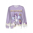 Cartoon Unicorns Moon Printed Basic Round Neck Long Sleeve Purple Sweatshirt