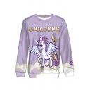 Cartoon Unicorns Moon Printed Basic Round Neck Long Sleeve Purple Sweatshirt