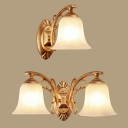 1/2 Lights Bell Shade Wall Sconce Light Frosted Glass Sconce Lamp in White for Bedroom Foyer