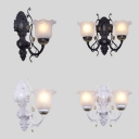 Flower Bedroom Hallway Wall Light Frosted Glass 1/2 Lights Vintage Style Sconce Lamp in Black/White