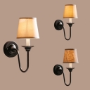 Traditional Tapered Shade Wall Light 1 Light Fabric Sconce Light in Black for Hallway Bedroom