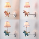 Cute Blue/Pink LED Wall Lamp Unicorn Decoration 1 Light Metal Sconce Light for Child Bedroom