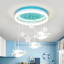 Airplane/Cloud Kindergarten Ceiling Lamp Acrylic Creative LED Semi Ceiling Mount Light in Blue
