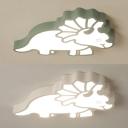 Creative Dinosaur LED Ceiling Light Acrylic Green/White Flush Light in Warm/White for Kid Bedroom
