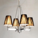 4 Lights Tapered Shade Chandelier Traditional Metal Pendant Light in Chrome for Bedroom