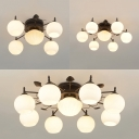 American Rustic White Ceiling Lamp Orb Shade 5/7/9 Lights Metal Semi Flush Light for Dining Room