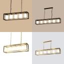 Vintage Style Black/Brass Ceiling Pendant Rectangle 5/6 Lights Metal Glass Island Lamp for Bar