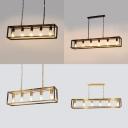 Black/Brass Rectangle Suspension Light 5/6 Lights Vintage Style Metal Island Lamp for Cafe