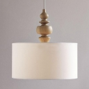 Rustic Style Drum Pendant Light 3 Lights Fabric Wood Hanging Light in White for Kitchen