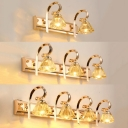Elegant Style Diamond Wall Light Crystal 2/3/4 Lights Gold LED Vanity Light for Bathroom