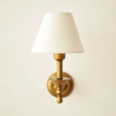 Vintage Style Brass Wall Light Tapered Shade 1 Light Fabric Metal Sconce Light for Living Room