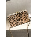 Trendy Leopard Pattern Square Crossbody Bag with Chain Strap 19*5*12 CM