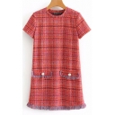 Womens Chic Plaid Pattern Round Neck Short Sleeve Tassel Hem Mini Tweed Dress