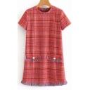 Womens Chic Plaid Pattern Round Neck Short Sleeve Tassel Hem Mini Tweed Dress
