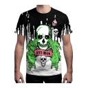 Summer Cool Funny Letter SAD MAN Crying Skull Printed Short Sleeve Black and White T-Shirt