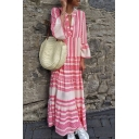 Summer Fashion Tribal Pattern V-Neck Bell Sleeve Maxi Holiday Beach Linen Dress for Women
