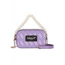 New Fashion Label Patchwork Pearl Handle PU Leather Shoulder Crossbody Bag for Women 11*18*6 CM