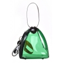 Stylish Transparent PU Leather Triangle Tote Shoulder Crossbody Bag for Women 17*15*15 CM