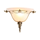 Colonial Style Bell Shade Wall Lamp 1 Light Frosted Glass Engraved Sconce Lamp in White for Restaurant