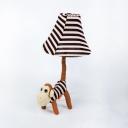 Fabric Money Desk Light with Stripe Shade Study Room 1 Light Animal Reading Light in Black and White