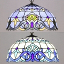 Tiffany Victorian Blue/White Pendant Light Dome Shade 1 Light Stained Glass Hanging Lamp for Bedroom