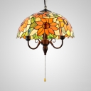 Rustic Sunflower Pendant Lamp Dome Shade & Pull Chain Stained Glass 3 Lights Ceiling Light for Hallway