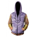 New Stylish Comic Cosplay Costume Long Sleeve Zip Up Purple Hoodie