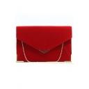 Fashion Solid Color Metal Corner Velvet Crossbody Clutch Pursue Envelope Bag 31*22*0.5 CM
