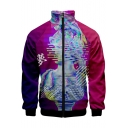 New Stylish Vaporwave 3D Figure Sculpture Printed Stand Collar Long Sleeve Zip Up Jacket
