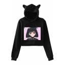 Fashion Vaporwave Comic Girl Printed Cute Cat Ear Cropped Casual Hoodie for Women
