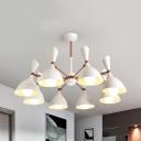 Macaron Black/White Chandelier 3/6/8 Lights Metal Pendant Light for Nursing Room Kindergarten