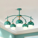 5 Lights Mushroom Pendant Light Lovely Glass Hanging Light in Green/Pink/White for Girl Bedroom