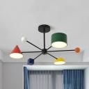 Modern Black Hanging Light 3 Heads Metal Acrylic Chandelier in Warm/White for Kindergarten