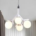 Macaron Loft Globe Chandelier 4 Heads Milk Glass Pendant Light in Black/Red/White for Kid Bedroom