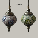 1/2 Pack Moroccan Spherical Pendant Light Glass 1 Light Blue/Green Hanging Light for hallway(not Specified We will be Random Shipments)