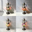 Creative Carafe Shape Table Light 1 Light Stained Glass Table Lamp in Aged Brass for KTV