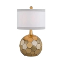 Contemporary Globe Desk Light One Light Metal & Fabric Reading Light in Brass for Office