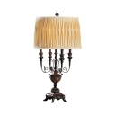 Bronze Candle Desk Light with Drum Shade 4 Lights Vintage Metal Table Light for Living Room