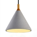 Hallway Stair Cone Shade Pendant Light Cement Single Light Antique Style Gray Hanging Lamp