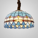 Stained Glass Grid Bowl Hanging Lihgt 12/16 Inch Tiffany Nautical Style Ceiling Pendant in Blue for Cafe