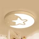 Night View Kindergarten Ceiling Light Metal Modern LED Flushmount Light in Warm/White
