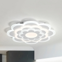 White Petal LED Ceiling Fixture Modern Acrylic Flushmount Light in Warm/White/Stepless Dimming