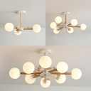 3/6/8 Lights Branch Chandelier Rustic Style Wood & Milk Glass Pendant Light with Bird in White for Kindergarten