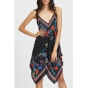 New Trendy Black Floral Pattern V-Neck Sleeveless Black Asymmetrical Cami Dress
