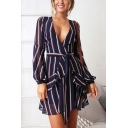 Summer Chic Navy Striped Pattern V-Neck Long Sleeve Tied Waist Mini A-Line Dress
