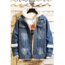 Guys Cool Letter STAY REAL Printed Back Striped Long Sleeve Loose Casual Denim Jacket