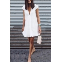 Summer Hot Popular Solid Color V-Neck Cap Sleeve Mini Swing Dress for Women